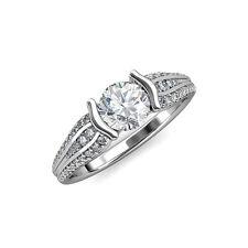 tw in 14K White Gold Jp:87757 Diamond Half Bezel Engagement Ring 1.50 ct