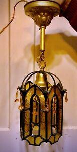 Incredible Antique Original Art Nouveau  Cast Slag Glass Porch hanging Light