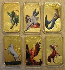 Mystical Creatures 2013 Somalia 6 Coin Ingot Set Au Plt and Color