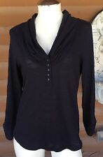 Anthropologie PILCRO AND THE LETTERPRESS - Shawl Neck Button Henley Navy - Sz M