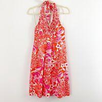 LILLY PULITZER Lillian Ruffle V-Neck Halter Dress Size 4 Pink Orange Cotton