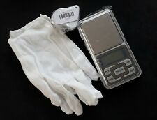30X 60X coin magnifier double eye glass, scales, gloves. Collectors set