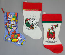 VINTAGE 3x PEANUTS SNOOPY CHRISTMAS STOCKINGS RETRO CLASSIC HARD TO FIND DECOR