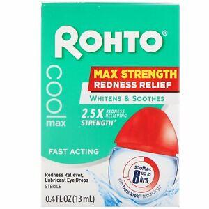 ROHTO COOLING EYE DROPS MAXIMUM REDNESS RELIEF 13ml 0.4 fl.oz. free P&P