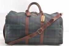 Authentic POLO Ralph Lauren Vintage Green Check Leather Travel Boston Bag 95000