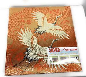 Photo Album Gold Orange White Crane Birds Silver Magnetic Vintage 70 's Japan