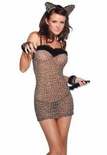 Leopard Nightgown Teddy Costume Sexy Teddie Lingerie Adult Cat Dress Gloves Ears