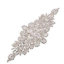 DM22 Gorgeous Iron On Sew Diamante Crystal Beaded Motif Wedding Applique Patch