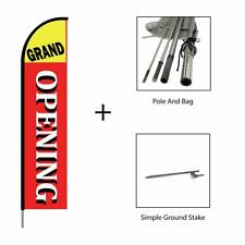 Grand Opening Feather Flag Swooper Banner Pole Kit Sign Display, 15ft - Red