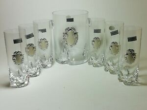 Bohemia Cristallo set valigia con 6 bicchieri + caraffa con placca argento 925