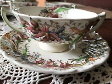 Royal Doulton china pattern tintern  two handled soup cup & saucer