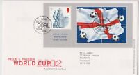WEMBLEY PMK GB ROYAL MAIL FDC FIRST DAY COVER 2002 WORLD CUP MINIATURE SHEET