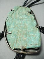ONE OF THE LARGEST ROYSTON TURQUOISE VINTAGE NAVAJO STERLING SILVER BOLO