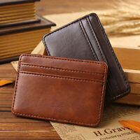 HN- Fashion Mens Faux Leather Wallet Slim Bifold Magic Money Clip Card Holder Wa
