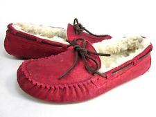 UGG WOMEN'S ANSLEY MOCCASIN SLIPPERS,RED,US SIZE 9,EUR 40,MEDIUM,NEW/DISPLAY