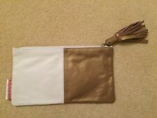 BNWOT Birdy Num Num Gold/White Leather Clutch Bag/Purse with Tassel