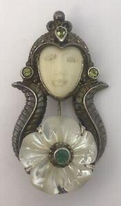 Large Sterling Silver, Mother Of Pearl & Gem Set  Sajen pendant brooch