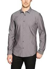 $99 CALVIN KLEIN Men SLIM-FIT BLACK WHITE LONG-SLEEVE TOP BUTTON DRESS SHIRT L