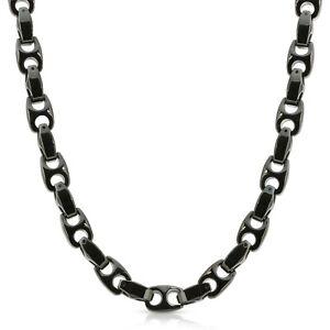Heavy Biker 9.5mm wide BLACK Tungsten Carbide Men Necklace (02) - FREE SHIPPING!