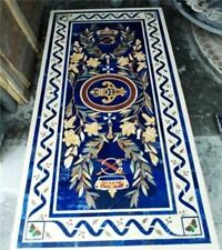 4'x2.5' white marble table top dining center inlay lapis mosaic home decor G529
