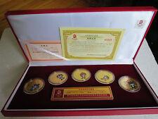 Beijing 2008, Medaillen-Set, 5 Medaillen mit Maskottchen, Kupfer vergoldet