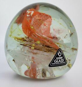 Kerry Glass Ireland Orange White Gold swirls labeled art glass paperweight