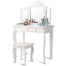 Vanity Table Set Makeup Dressing Table Kids Girls Stool Mirror