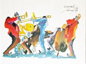 Leo Meiersdorff 5 Piece Jazz Band Art Print New Orleans French Quarter