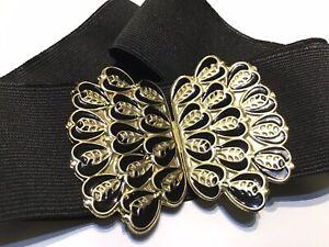 Vintage 80s Wide Cinch Belt Black Enamel GoldTone Peacock Feather Buckle Stretch
