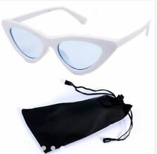 Cat Eye Sunglasses Black Frame Black Lens Shades with Pouch - WHITE/CLEAR