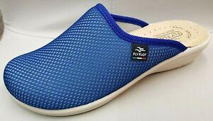 Fly Flot Damen Schuhe Hausschuh Pantoffeln Clogs Blau Avio Art.855346