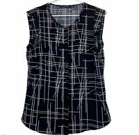 Portmans Womens Black/White Striped Sleeveless Button Up Blouse Size 10
