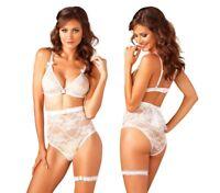 Leg Avenue, Retro White Bridal Bra Lingerie Set, Wedding Underwear, Lurex Lace