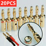 20PCS 4mm Red Black Gold Plated Cable Audio Wire Connectors Banana Plugs Speaker