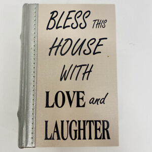 Wood Book Box Hidden Jewelry Secret Fake Bless The House With Love And Laughter