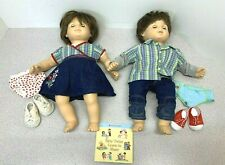 American Girl Bitty Baby TWINS Brown Hair Brown Eyes Boy & Girl + Clothes & Book