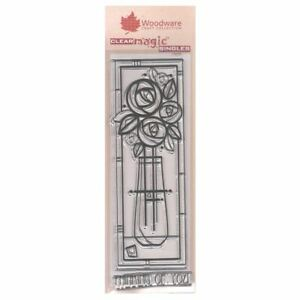 Woodware 3 x 8 Clear Cling Stamps - FRS348 Tall Deco Vase