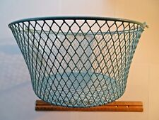 Metal Wire Mesh Basket - Aqua - with Handle