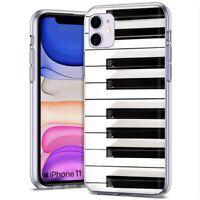 Thin Gel Phone Case for Apple iPhone 11,XS,XR,8 Series,Vintage Piano Keys Print