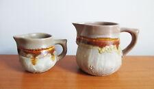 Laurentian Pottery Tundra Creamer x 2 Large Small Tan Brown Lava Drip Canada