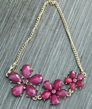 Nice Chain Costume Jewelry Bracelet w 3 Different Sizes Ruby Red Flowers