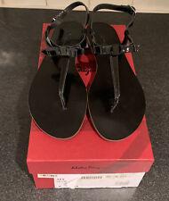 NIB SALVATORE FERRAGAMO Women My Summer Patent Black Leather Thong Sandals 8M