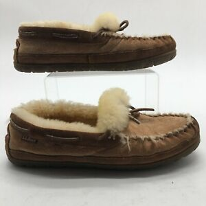 L.L Bean Mens 9 Wicked Good Camp Moccasins Slippers Brown Suede Fur Comfort Shoe