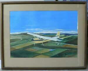Original W/C By David Lockwood 'Airplane' Fine Cond./Listed Gifted Art 27 X 34