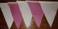 BIANCO & Rosa Chiaro Tessuto Bunting Decorazione Festa Matrimonio 6.8mt compra 3 paghi 2