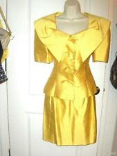 VTG 80s GUY LAROCHE yellow SILK skirt Jacket PADDED SHOULDERS suit 40 2 4 NEW