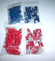 (100) Male & Female Car Audio Quick Disconnect Wire Bullet Connector Red & Blue