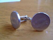 Round Silver Coloured Metal Cufflinks