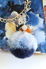 Fur Pom Pom Key Chain Purse Charm Key Fob Bag Charm Rabbit Fur Shades of Blue