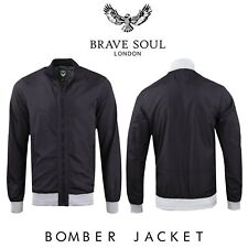 Brave Soul Mens Bomber Jacket Lightweight Detail Funnel Neck